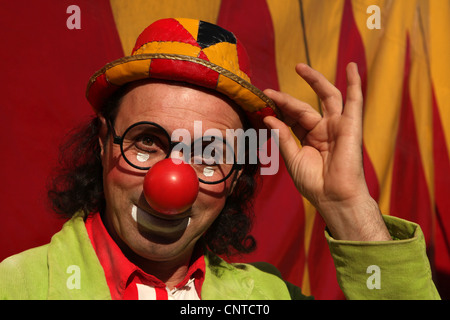Clown Mr. George in the backstage of Humberto Circus in Prague, Czech Republic. - Stock Photo