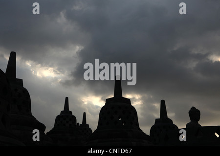 Borobudur Temple in Magelang, Central Java, Indonesia. - Stock Photo