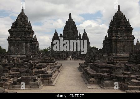 Candi Sewu Buddhist Temple next to Prambanan Temple near Yogyakarta, Central Java, Indonesia. - Stock Photo