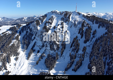 Gruenten in Winter, view from North-North-West, Germany, Bavaria, Allgaeu - Stock Photo