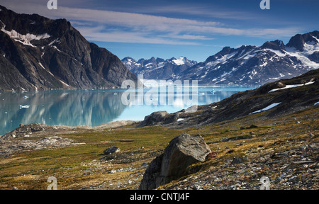 view to Sermiligaq Fjord and Knud Rasmussen Glacier, Greenland, Ammassalik, East Greenland, Sermiligaq - Stock Photo