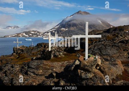 graves on cemetery, Greenland, Ammassalik, East Greenland, Kulusuk - Stock Photo