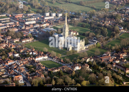 Salisbury from the air, including Salisbury Cathedral, England. Photographed from a hot air balloon. - Stock Photo