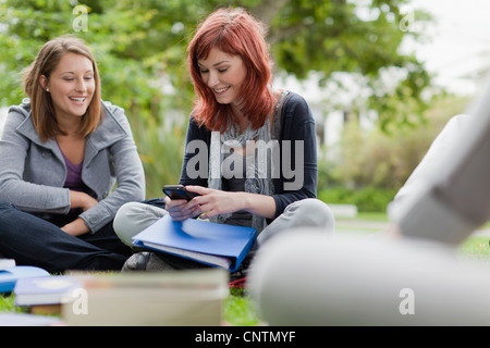 Students using cell phone on grass - Stock Photo
