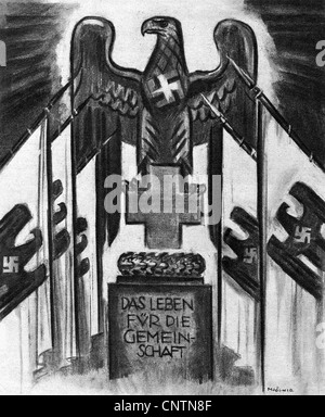 National Socialism / Nazism, propaganda, illustration, Red Cross sign with Nazi eagle and swastika flags, motto - Stock Photo