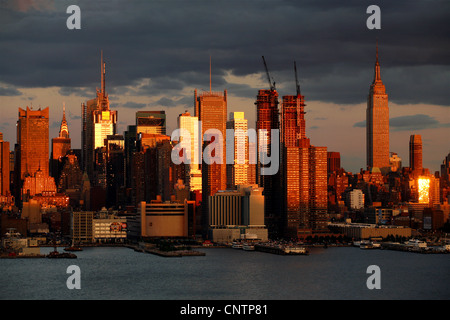 Midtown Manhattan & construction of The Silver Towers, New York City, USA - Stock Photo