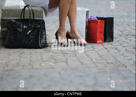 Woman with shopping bags and purse - Stock Photo
