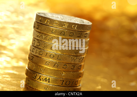 One pound coins - Stock Photo