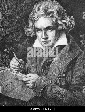 Ludwig van Beethoven, 1770-1827, German composer of the First Viennese School, historic woodcut, ca. 1880 - Stock Photo