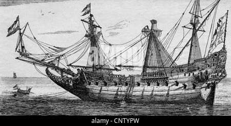 transport, navigation, sailing ship, ship of the Dutch East India Company, masts are being repaired, etching by - Stock Photo
