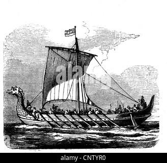 transport, navigation, Viking ship from the 10th century, wood engraving, 19th century, seafaring, seafarings, sailing, - Stock Photo