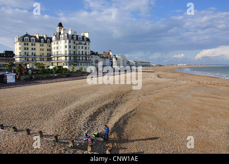 Beach and promenade view from Eastbourne Pier, Eastbourne, East Sussex, England, United Kingdom - Stock Photo