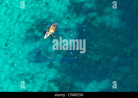 Illegal harvesting of tropical fish, Mafia Channel between  Rufiji River estuary and Mafia Island, aerial view, - Stock Photo