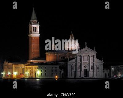 A view of Venice's San Giorgio Maggiore Island at night. - Stock Photo