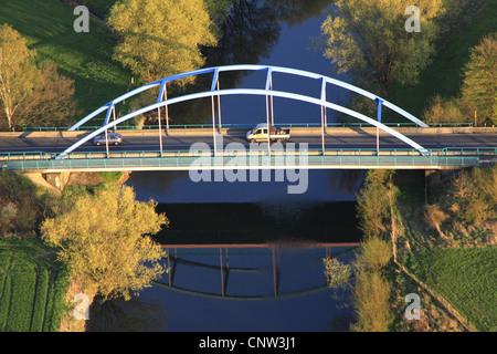 bridge of Borker Strasse, Borker street, over Lippe river, Germany, North Rhine-Westphalia, Ruhr Area, Waltrop - Stock Photo
