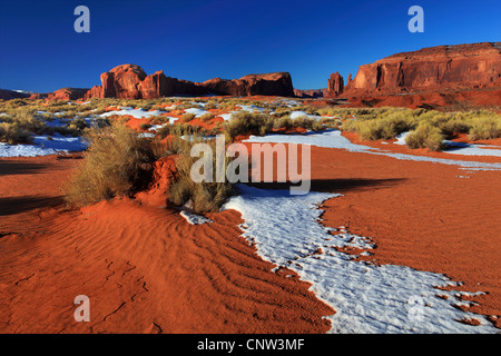 Monument Valley in winter, mesas and monolithes, USA, Utah, Monument Valley National Park - Stock Photo
