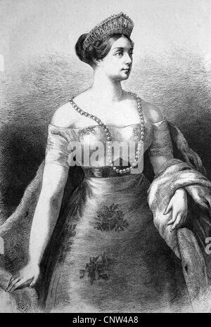Luise von Mecklenburg-Strelitz, Queen of Prussia, historical wood engraving, 1886 - Stock Photo