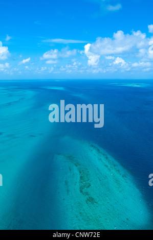 Sand banks and reefs, Mafia Channel between  Rufiji River estuary and Mafia Island, aerial view, Tanzania - Stock Photo