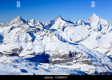 Ober Gabelhorn (4063 m), Zinalrothorn (4221 m) and Weisshorn (4505 m) at the Suiss Alps, Switzerland, Valais - Stock Photo