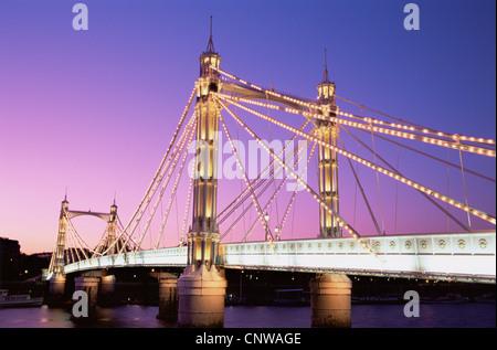 England, London, Chelsea, Albert Bridge - Stock Photo