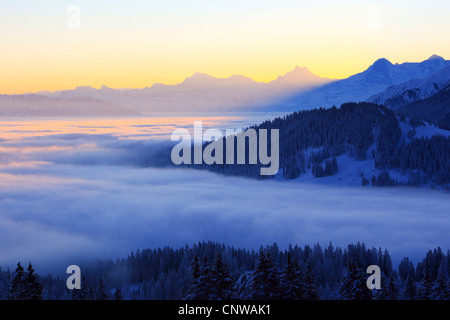 morning view from Gurnigel at the Pre-Alps on the Schreckhorn (4078 m), Eiger (3974 m) and Moench (4099 m) at the - Stock Photo