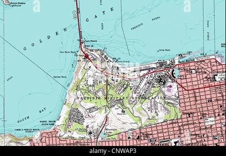 topographic map of San Francisco California Stock Photo: 47990774 ...