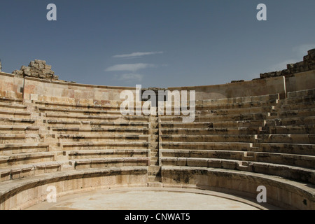 The semi-circular auditorium of the Odeon. The small ancient amphitheater was built in the 2nd century AD. Amman, - Stock Photo