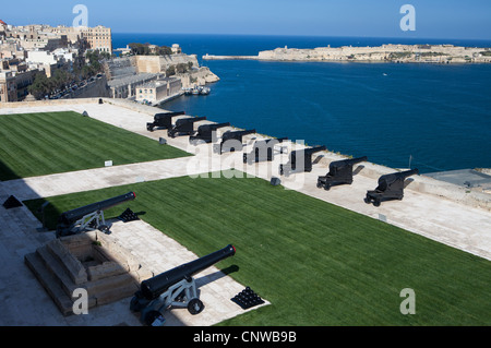 The Saluting Battery over looking the Grand Harbour on the Island of Malta - Stock Photo
