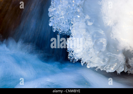 ice detail at river shore of Rhone, Switzerland, Valais - Stock Photo