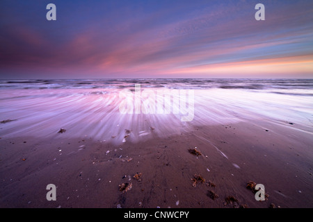 Early morning sunrise casts a pink hue over the incoming tide at Thornham Beach on the Norfolk Coast, UK - Stock Photo