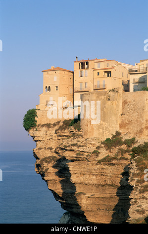 France, Corsica, Bonifacio, Cliffs and Houses in the Haute Ville - Stock Photo