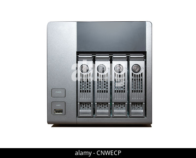 4 bay NAS Drive isolated on a white background - Stock Photo