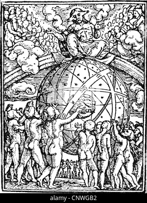 religion, apocalypse, 'Last Judgement', woodcut from the cycle 'Totentanz' (Dance of Death) by Hans Holbein the - Stock Photo