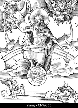 religion, apocalypse, 'Last Judgement', woodcut by Hans Wechtlin (1480/1485 - after 1526), Additional-Rights-Clearences - Stock Photo