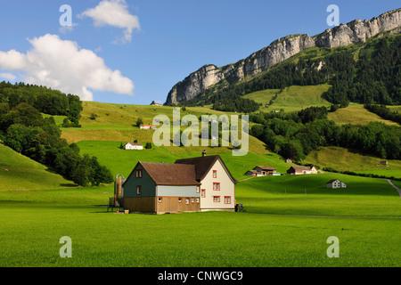 farmhouse and green pastures, Alpstein mountain range in background, Switzerland, Kanton Appenzell - Stock Photo