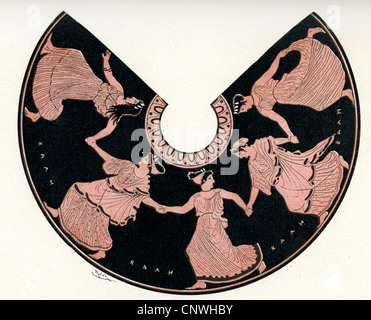 A group of women dancing, in a classical Greek style - Stock Photo