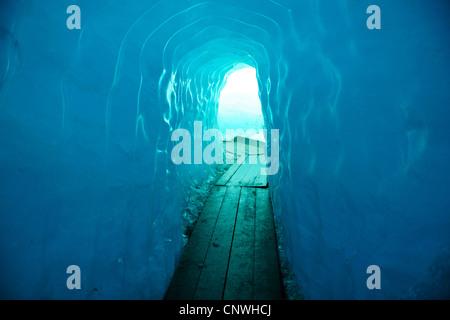 ice tunnel at the Rh�ne Glacier, Switzerland, Valais