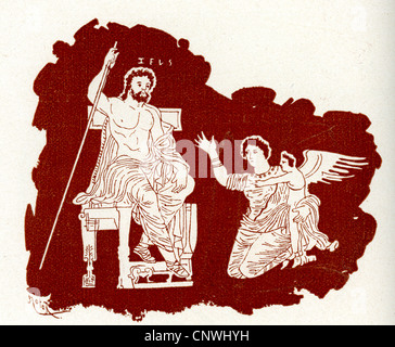 Zeus passing judgment on Icarus, in the style of ancient Greece - Stock Photo
