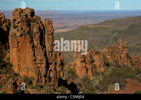 panoramic view over tors at the Valley of Desolation, South Africa, Eastern Cape, Camdeboo National Park, Graaf - Stock Photo