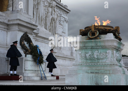 Tomb of the Unknown Soldier at the foot of the Monument to Victor Emmanuel II in Rome, Italy. - Stock Photo