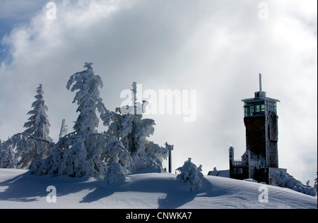 house with look-out in a snow covered landscape at the Schwarzwaldhochstrasse, Germany, Baden-Wuerttemberg, Black - Stock Photo