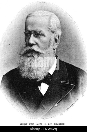 Pedro II, 2.12.1825 - 5.12.1891, Emperor of Brazil 7.4.1831 - 15.11.1889, portrait, wood engraving, 19th century, - Stock Photo