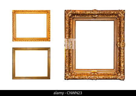 Old ornate golden frames isolated on a white background - Stock Photo