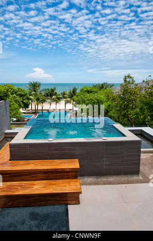 A private jacuzzi at a health spa resort in Hua Hin, Thailand. - Stock Photo