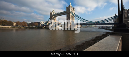 Panorama of Tower Bridge from the south bank - Stock Photo