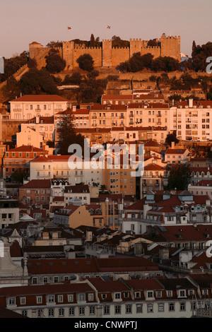 The Castle of São Jorge seen from Miradouro São Pedro de Alcântara Vista Point, Lisbon, Portugal - Stock Photo