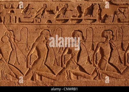 Captive Hittites. Relief from the Great Temple in Abu Simbel, Nubia, Egypt. - Stock Photo