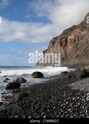 cliff line at Playa de Ingles, Canary Islands, Gomera, Valle Gran Rey - Stock Photo