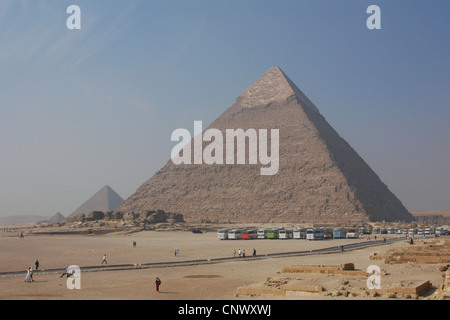 The Pyramid of Chefren (R) and the Pyramid of Menkaure (L) in Giza, Egypt. - Stock Photo