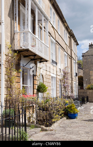 Bath stone terraced houses taken on Widcombe hill, bath, uk Stock Photo